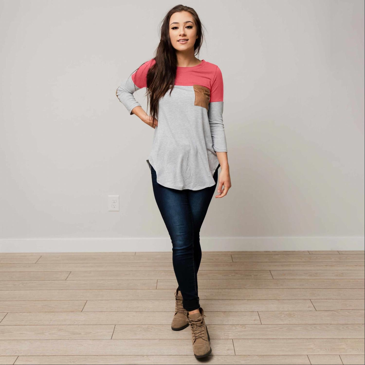 Rose Women's Color Block Elbow Patch Long Sleeve Soft Knit Fall Winter Pocket Top USA