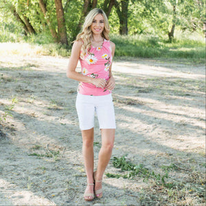 Pink Flower Printed Keyhole Top