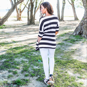 Navy Striped Shoulder Boxy Top