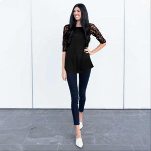 Black Lace Lined Three Quarter Length Sleeve Tunic