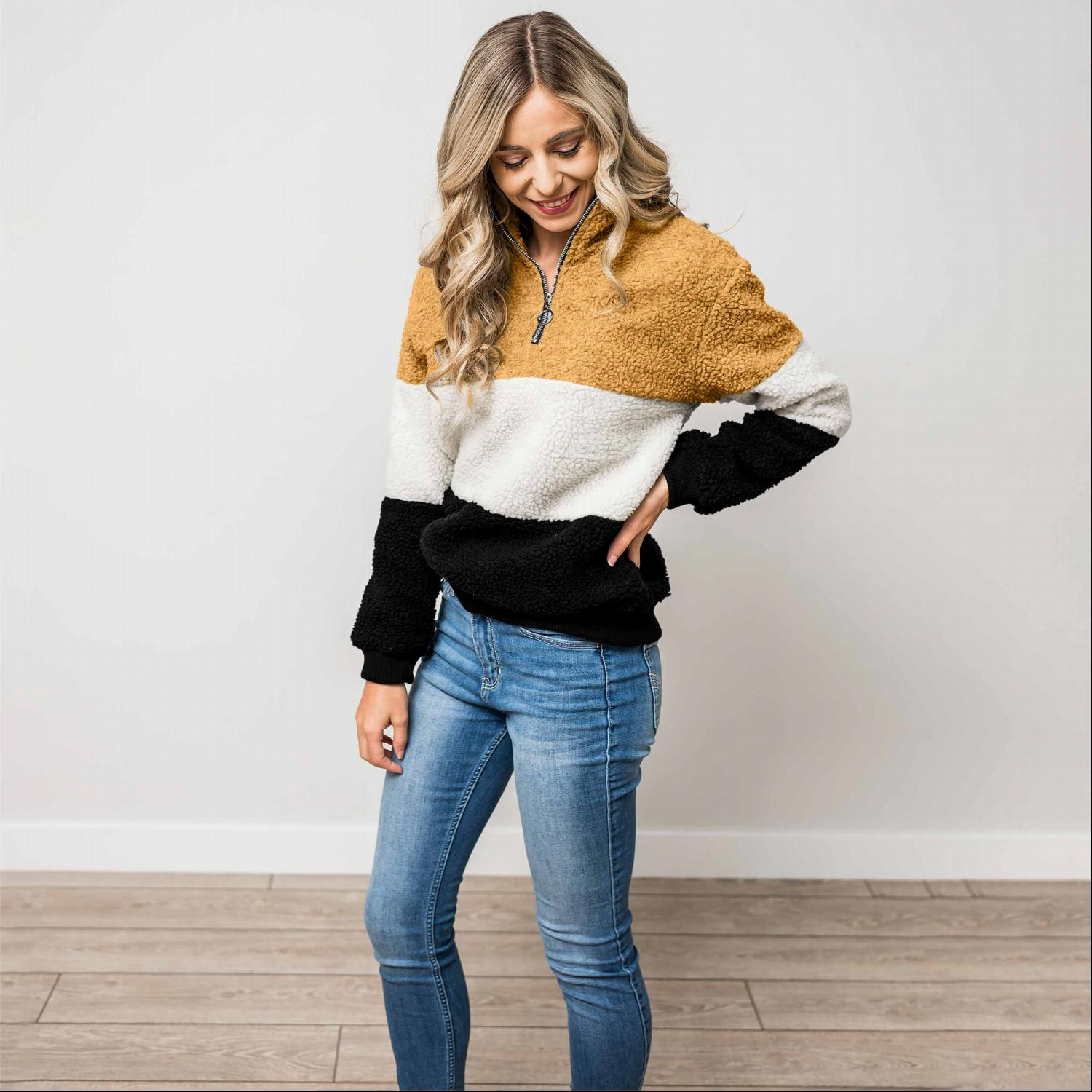 Mustard SHERPA COLORBLOCK ZIPPERED MOCK NECK PULLOVER JACKET