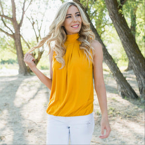 Mustard High Neck Pleated Top