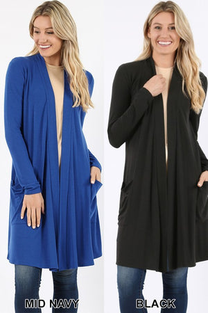 Black Women's Long Cardigan Slouchy Pocket Long Sleeves Open Front Solid Winter USA
