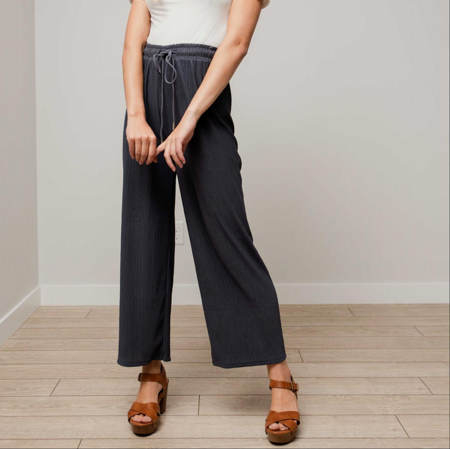 Charcoal Pleated Drawstring Straight Cut Pants