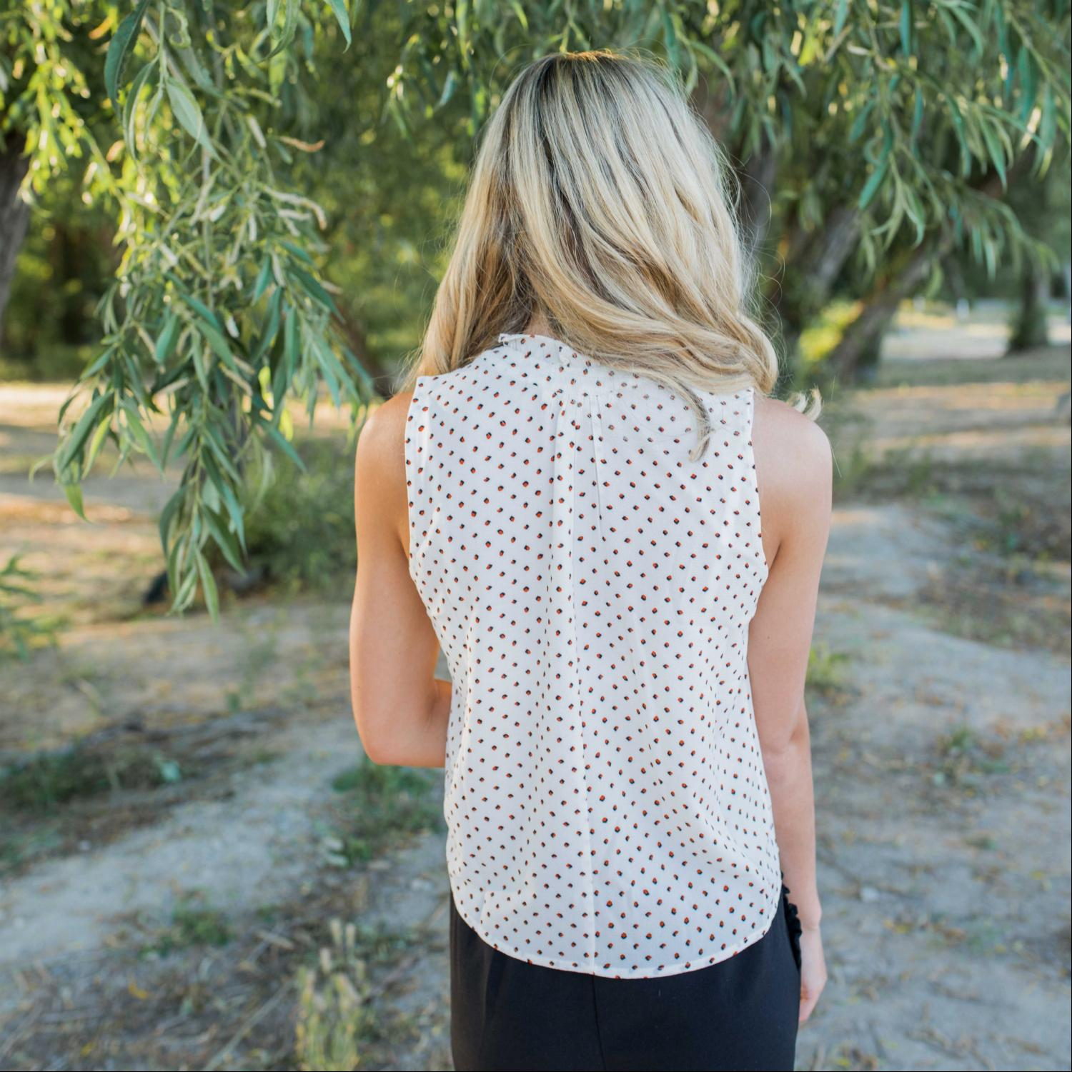White Dot Print Sleeveless Top