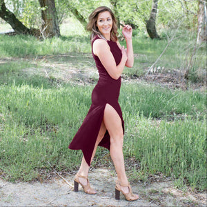Burgundy Knit Tank Maxi Dress
