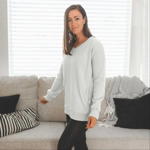 Bone Women's Sweatshirts Pullover Long Sleeve V-Neck Side Pockets Solid Spring USA