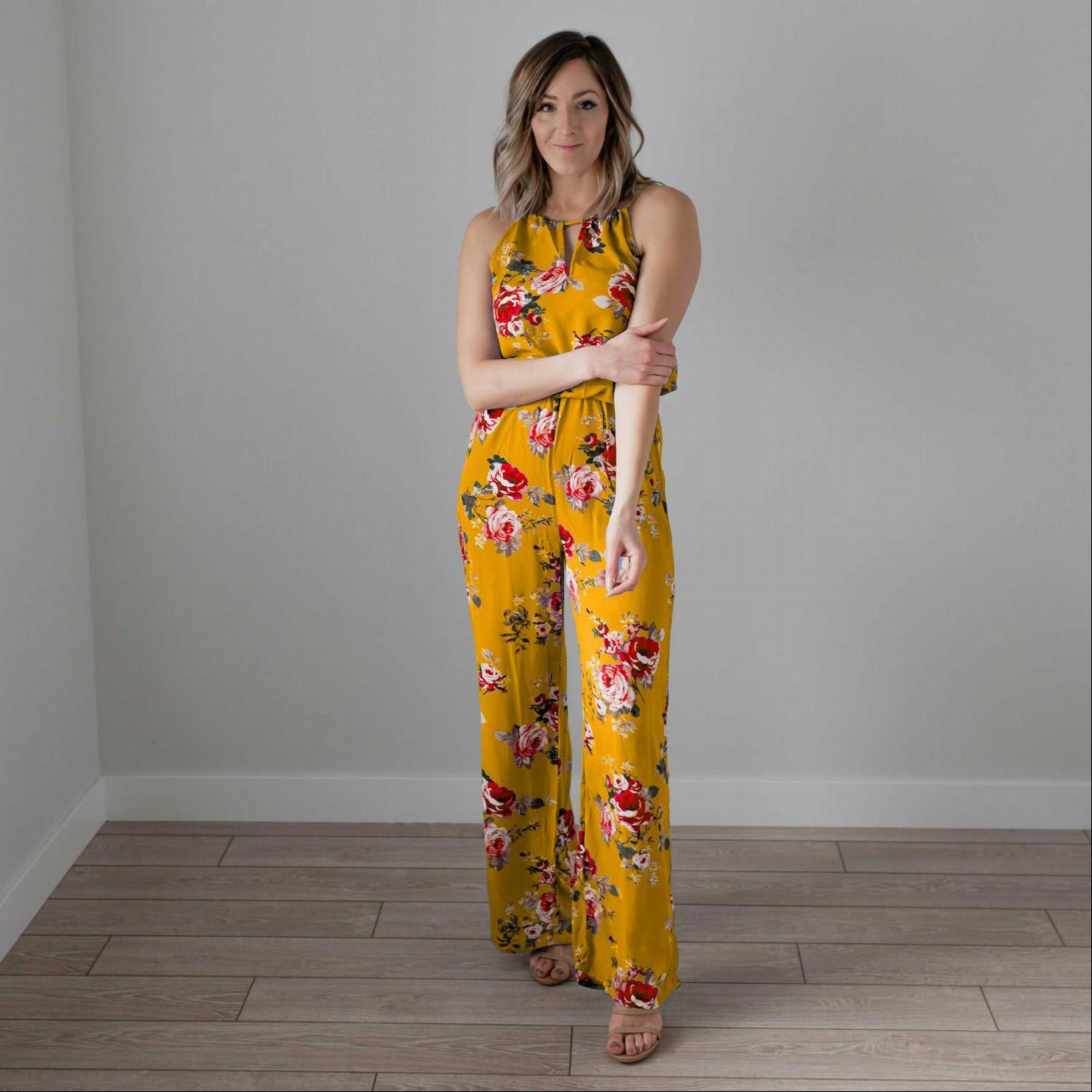 Mustard Floral Print High Square Jumpsuit