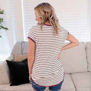 Plum Basic Striped Short Sleeve Top With Color Trim