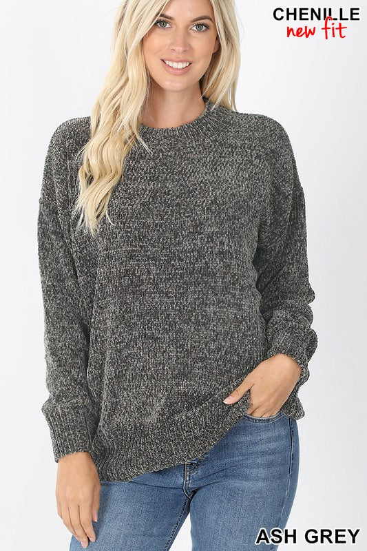 Ash Grey Round Neck Long Sleeve Chenille Sweater