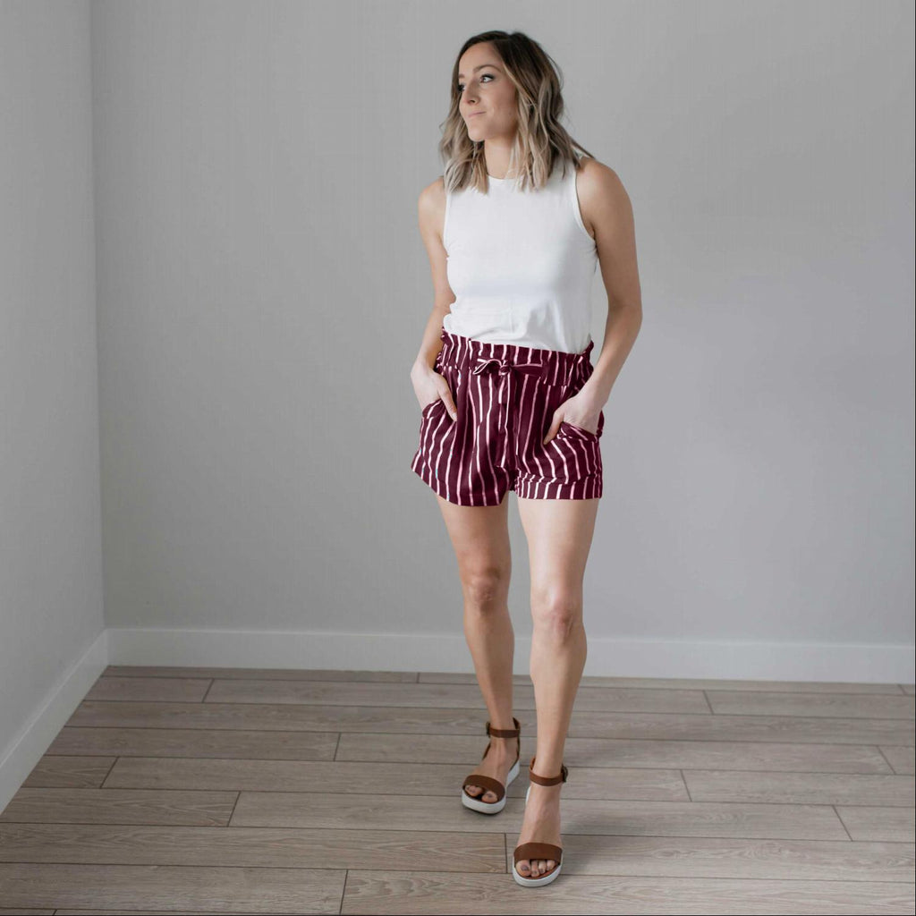 Burgundy Striped Tie Front Paperbag Shorts