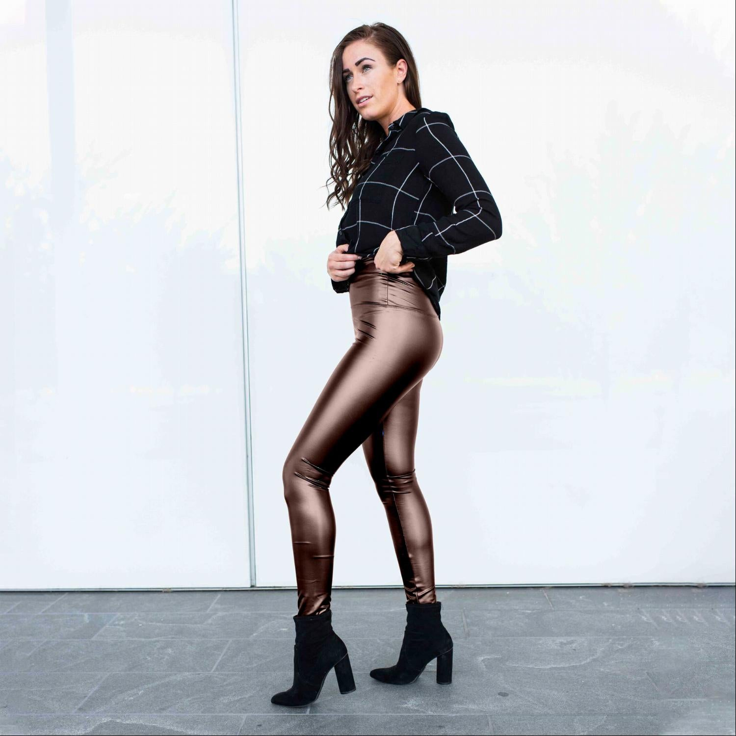 Brown Pull on Faux Leather Leggings