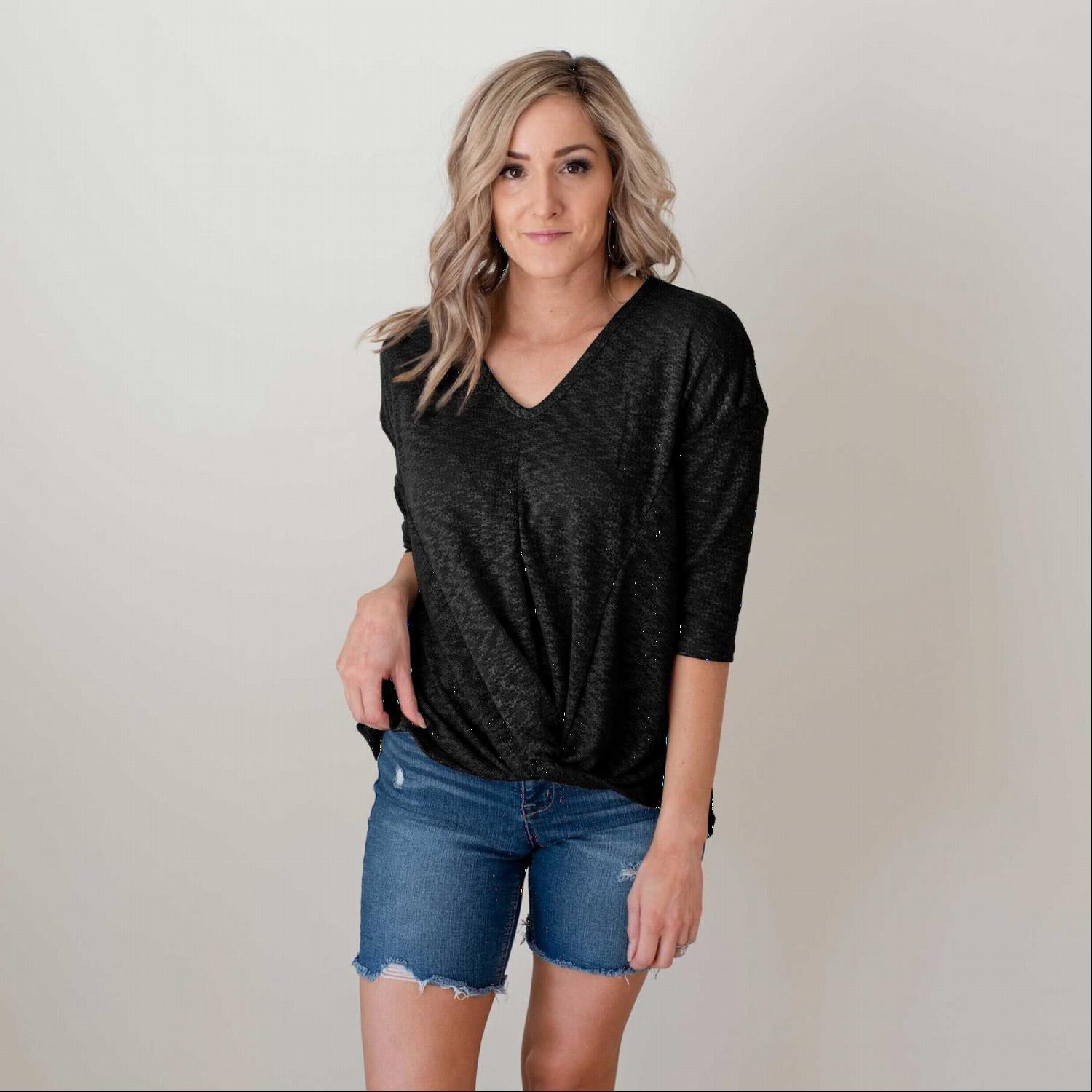 Black 3 Quarter Sleeve Front Gathered V Neck Top