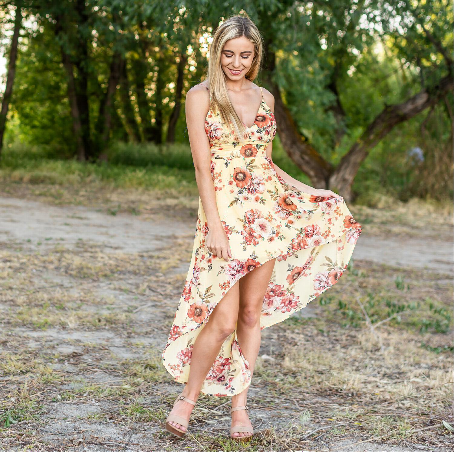 Yellow Floral Hi Low Dress