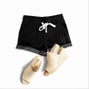 Black LOVE EMBROIDERY FRENCH TERRY BASIC SHORTS
