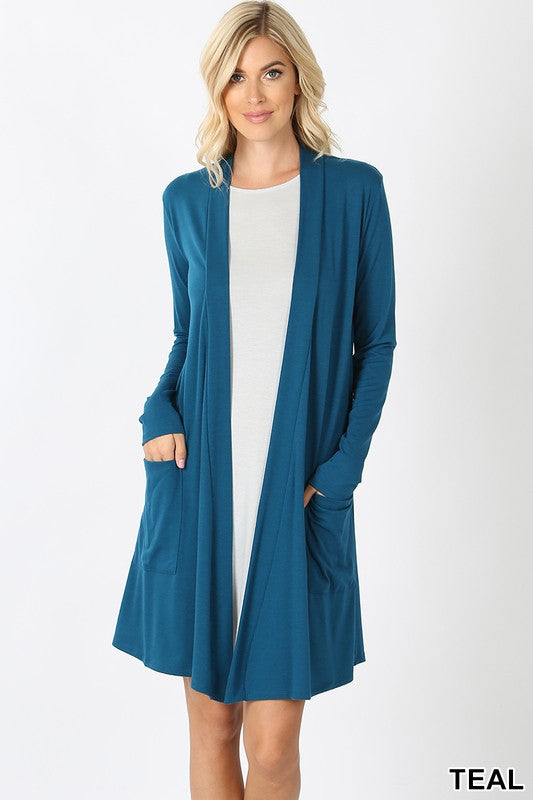 Teal Women's Long Cardigan Slouchy Pocket Long Sleeves Open Front Solid Winter USA