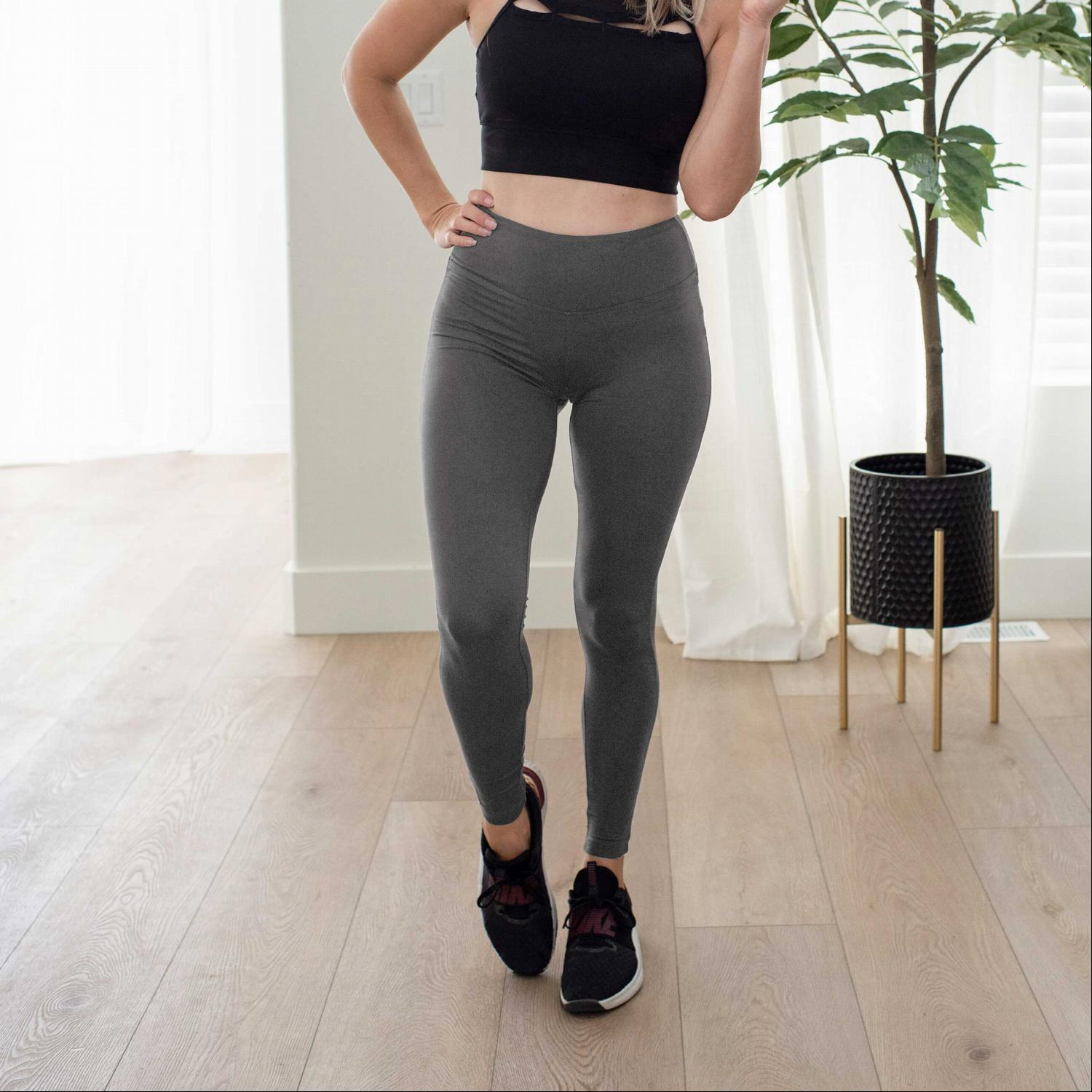 Ash Grey Premium Microfiber Wide Waistband Leggings