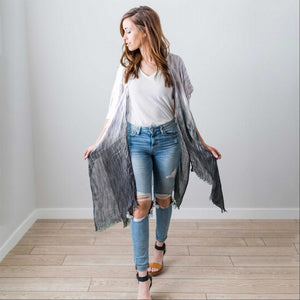 Black Fashion Women Boho Floral Loose Shawl Kimono Cardigan Top Cover up Blouse USA
