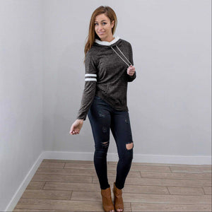 Black Women Long Sleeve Sweatshirt Cowl Neck Sweater Jumper Pullover Top Sherpa