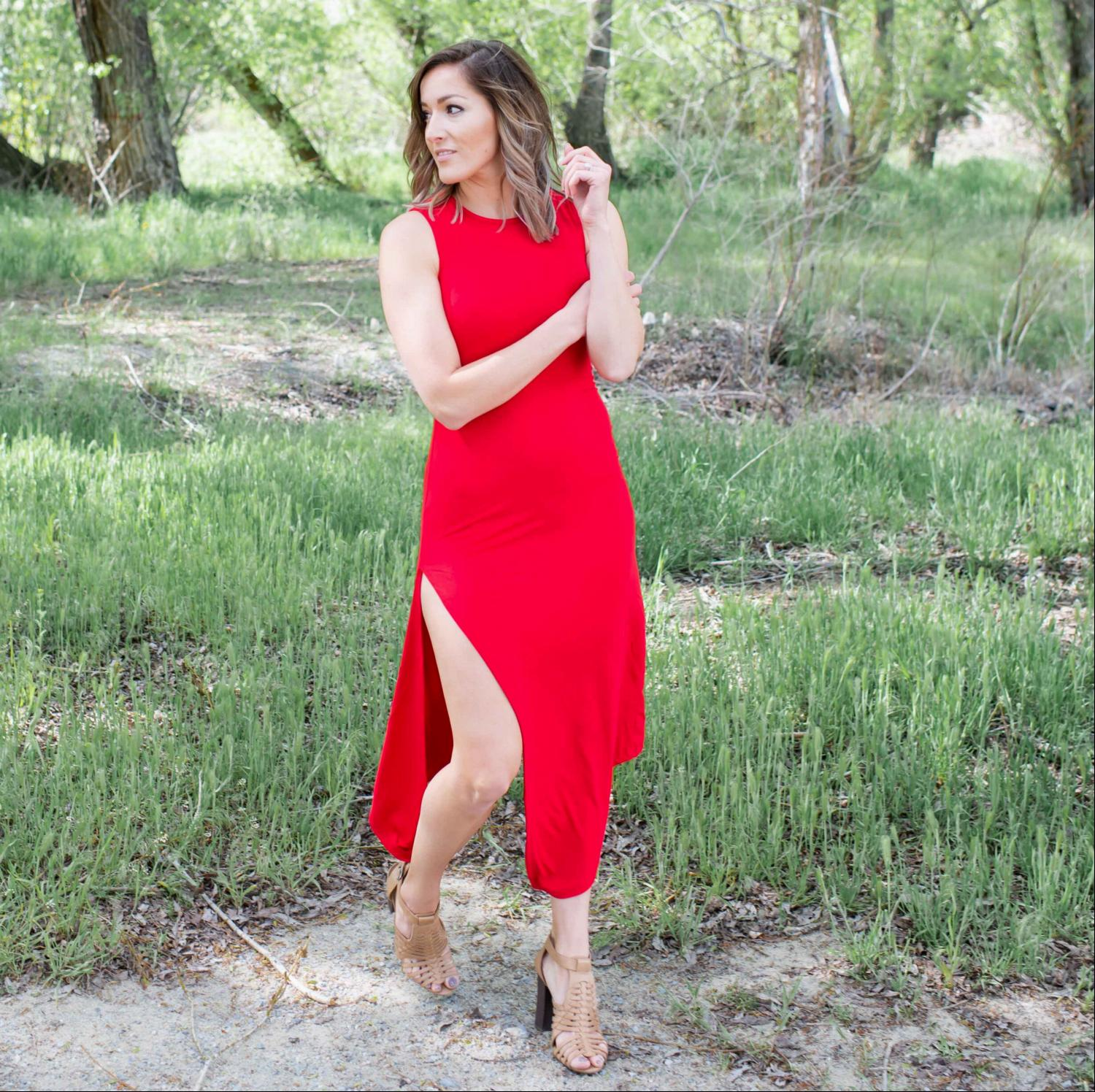 Red Knit Tank Maxi Dress