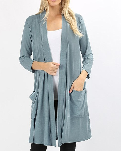Slate Gray Hacci Long Duster Cardigan
