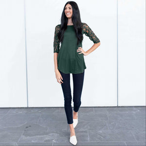 Hunter Green Lace Lined Three Quarter Length Sleeve Tunic