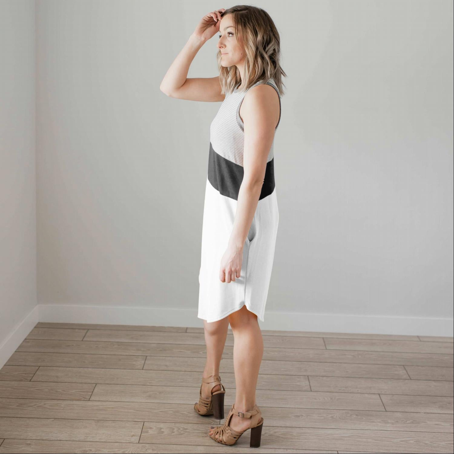 White Sleeveless Colorblock Casual Dress