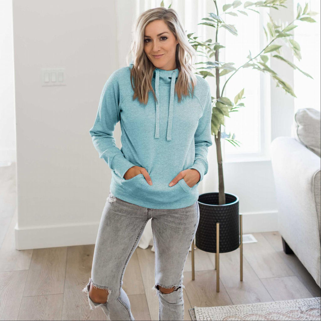 Marbled Smoky Blue Women's Sweatshirt Roomy Brushed Hoodie Adjustable Drawstrings Solid Winter USA