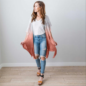 Rose Fashion Women Boho Floral Loose Shawl Kimono Cardigan Top Cover up Blouse USA