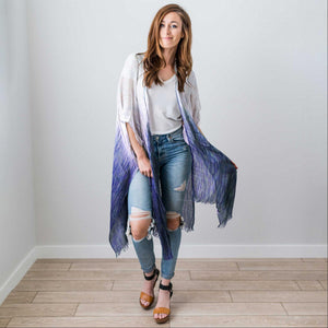 Blue Fashion Women Boho Floral Loose Shawl Kimono Cardigan Top Cover up Blouse USA