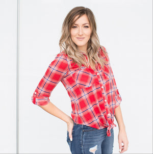 Red Women's Plaid Checks Button Down Shirt Knot Casual Tops Cuffed sleeve S-L