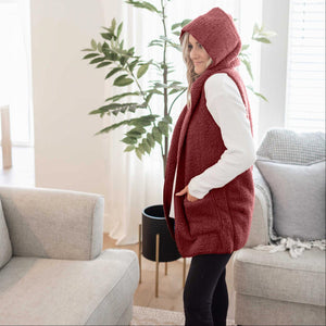 Dark Burgundy Women's Fuzzy Sherpa Vest Cardigan Hooded Open Front Sleeveless Solid Winter USA