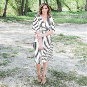 White Striped Vee Neck Dress