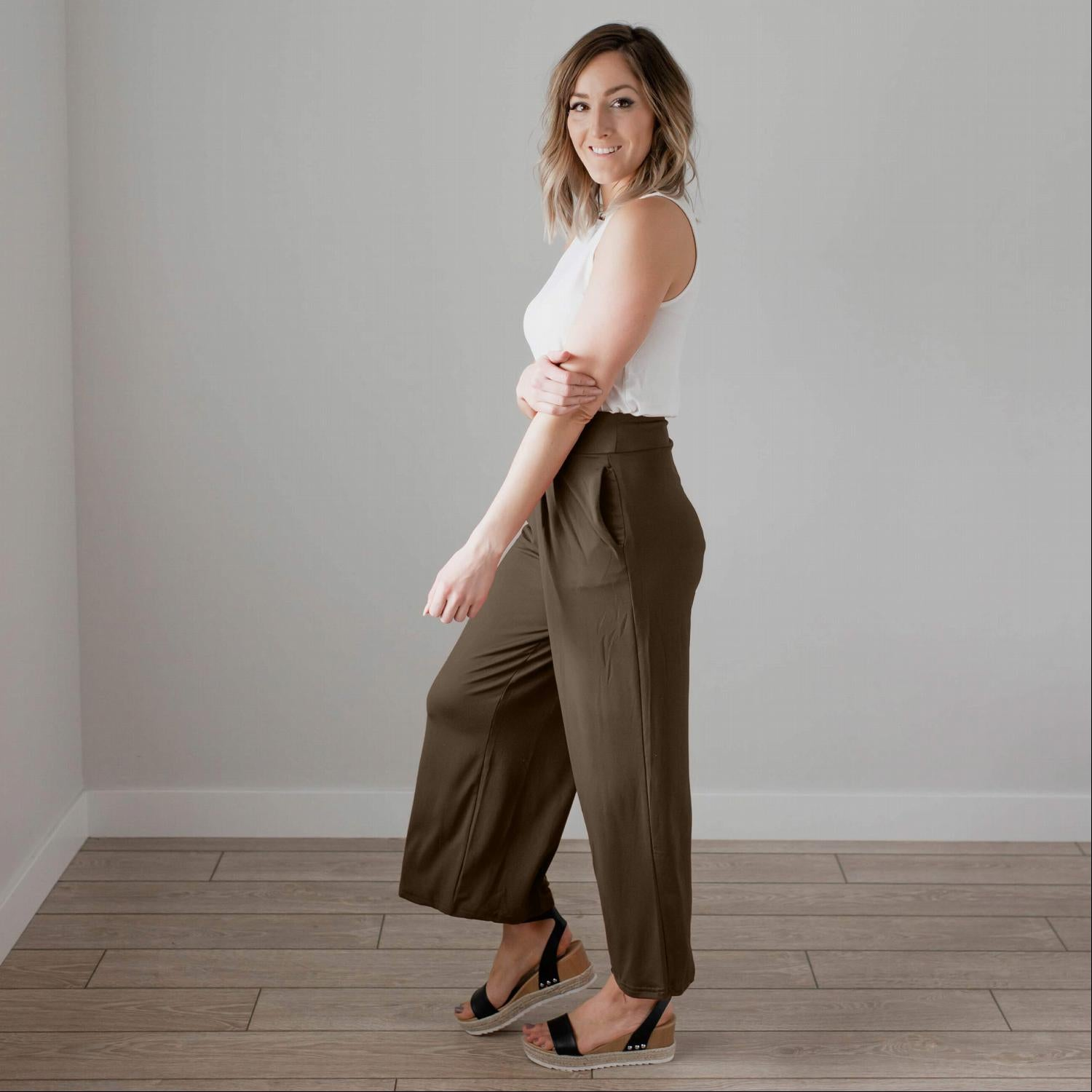 Olive Soft Brushed Wide Legged Palazzo Pants