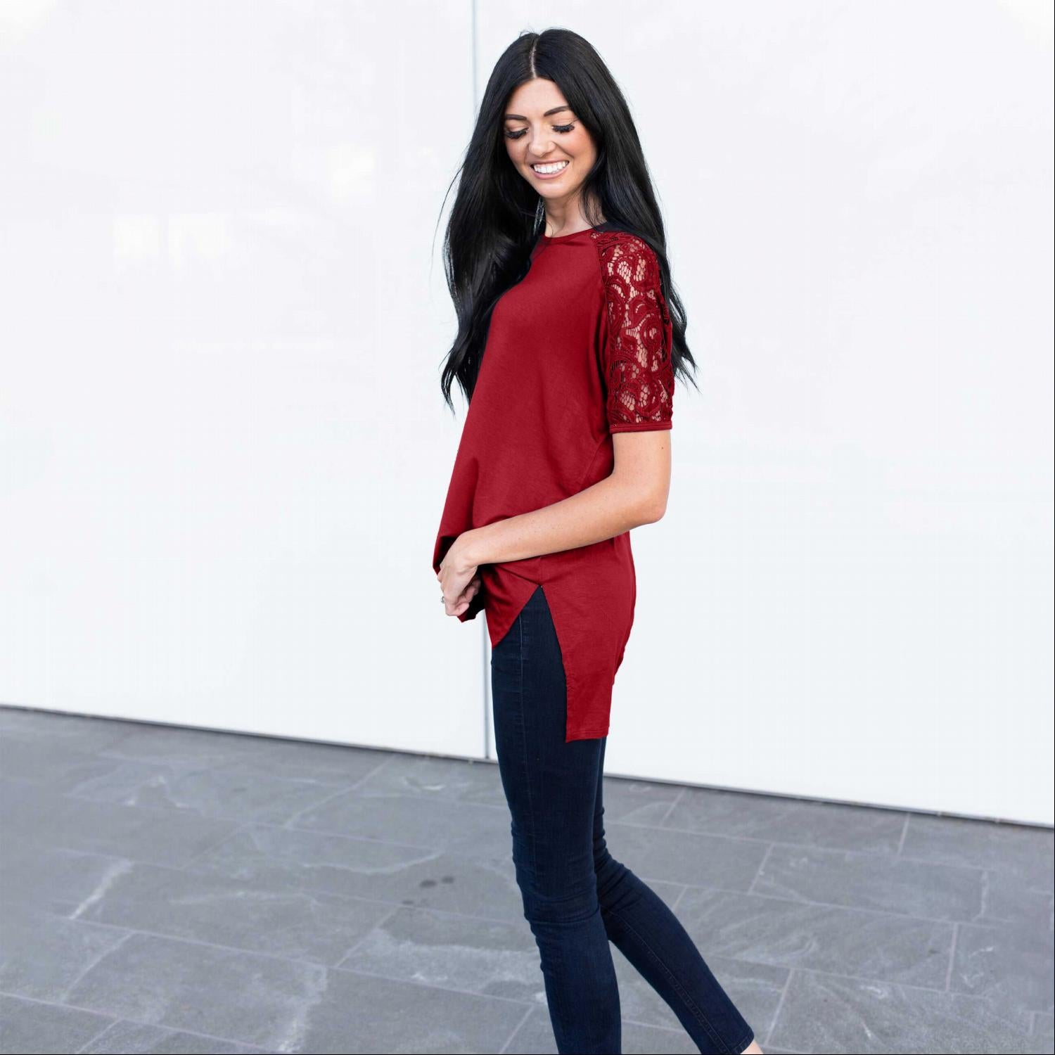 Wine Lace Sleeve High Low Tunic