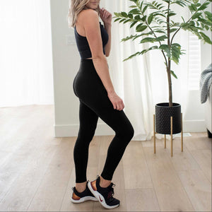 Black Premium Microfiber Wide Waistband Leggings