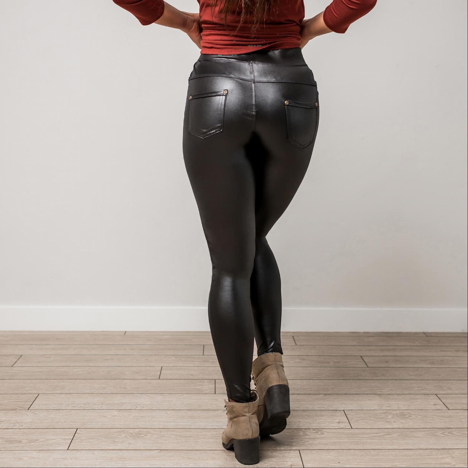 Black PU POCKET LEGGINGS