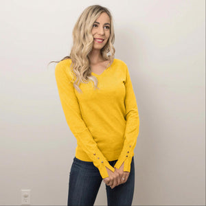 Mustard Women's Warm Long Sleeves Slim Fit V- Neck Pullover Tops Casual S-L USA