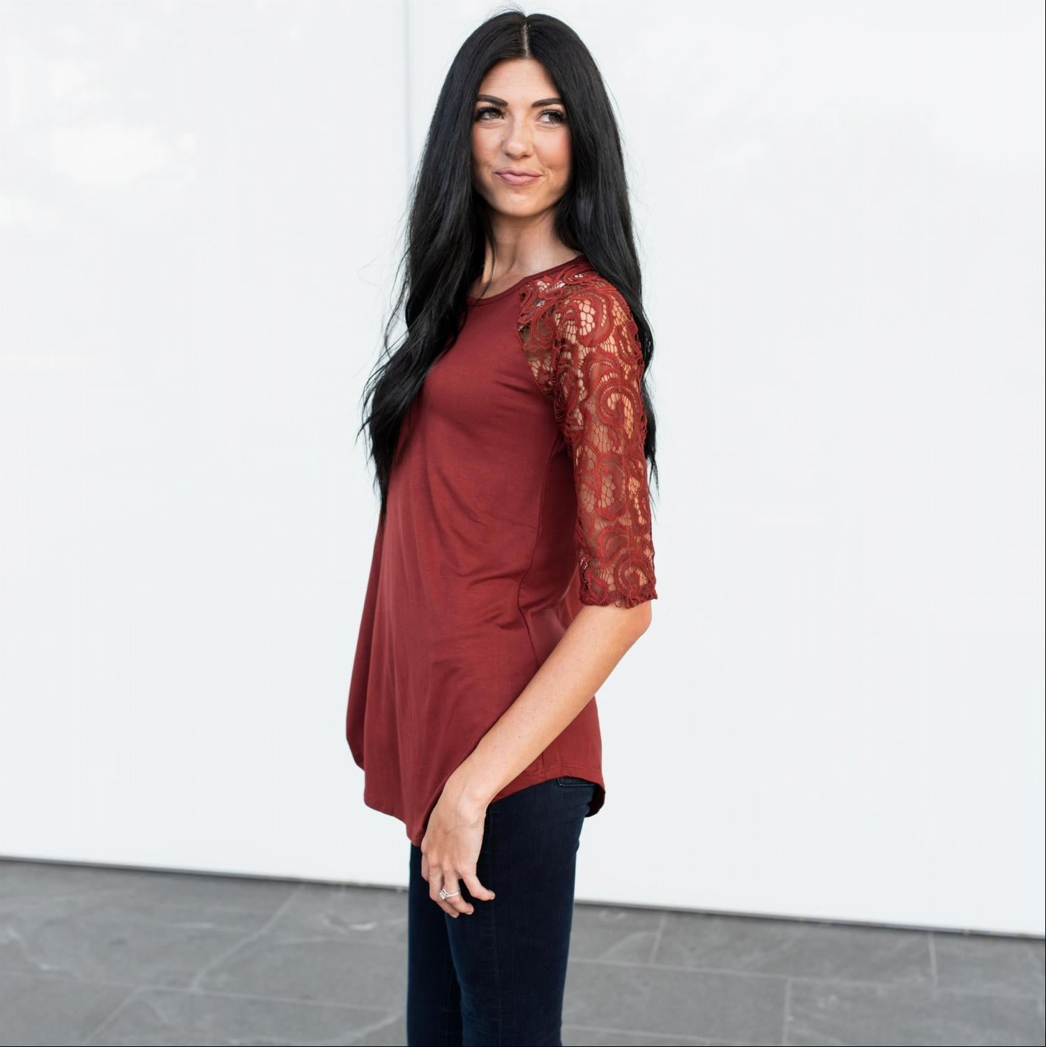 Wine Lace Lined Three Quarter Length Sleeve Tunic