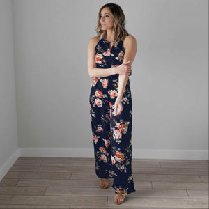 Navy Floral Print High Square Jumpsuit