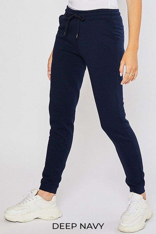 Navy Women's Sweatpants Fleece Jogger Basic Tapered Leg High Rise Solid Winter USA