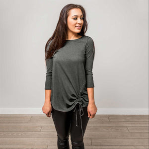 Charcoal SLEEVE ROUND NECK SIDE RUCHED TOP