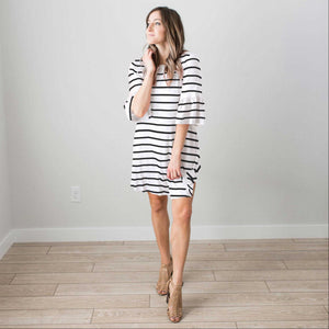 White Women's Ruffled Sleeve Short Midi Dress Striped Casual Pocket Fashion S-L USA