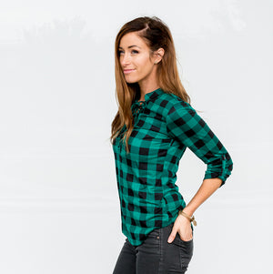 Green Women Lace-up Buffalo Plaid Check 3/4 Sleeve Casual Top Blouse T-shirt S-L USA
