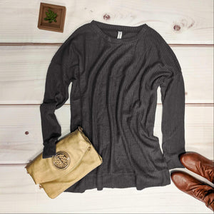 Ash Grey Long Crew Neck Waffle Knit Sweater