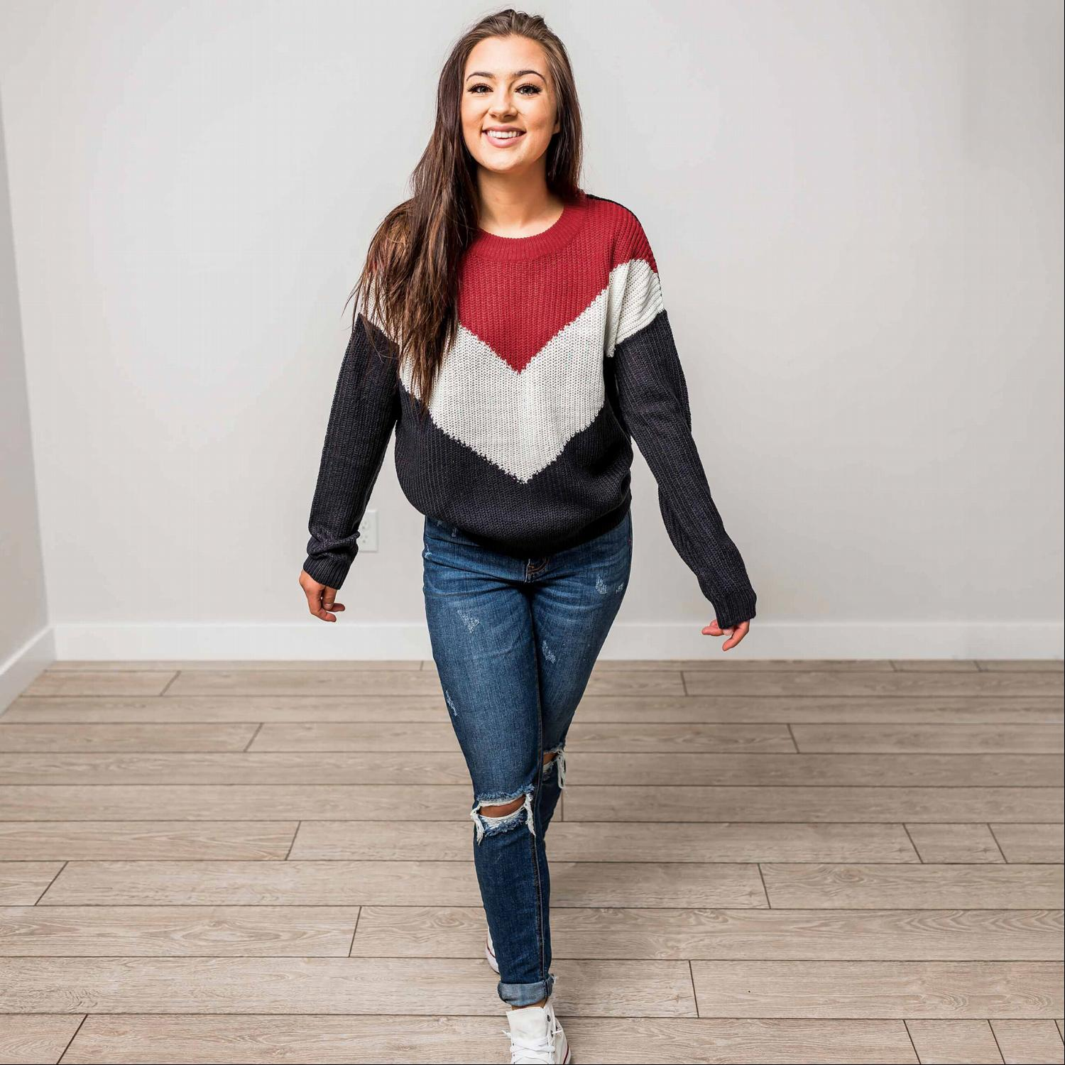 Rust ROUND NECK LONG SLEEVE CHEVRON COLORBLOCK SWEATER