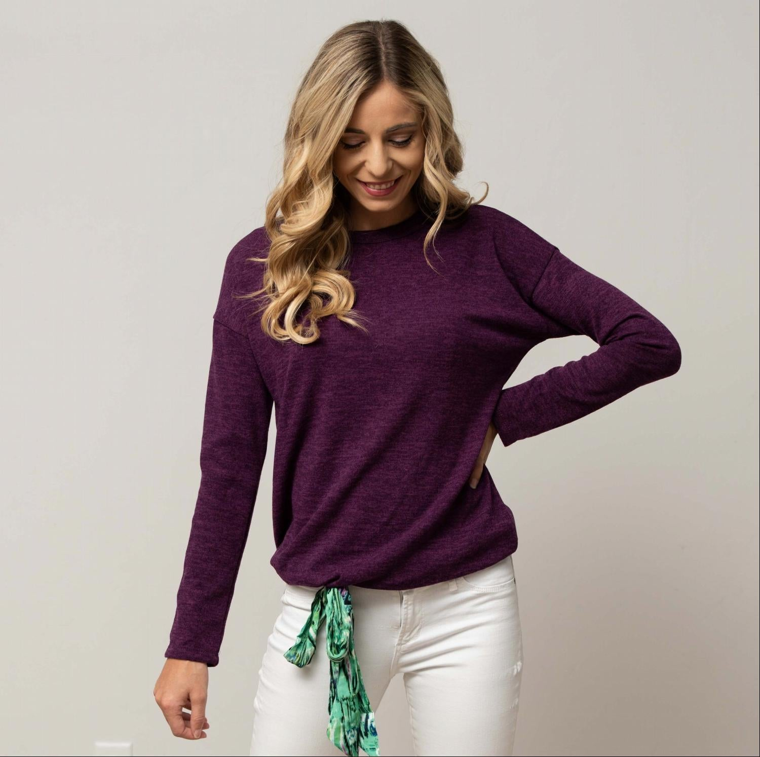 Purple Hacci Long Sleeve Tunic With Front Tie