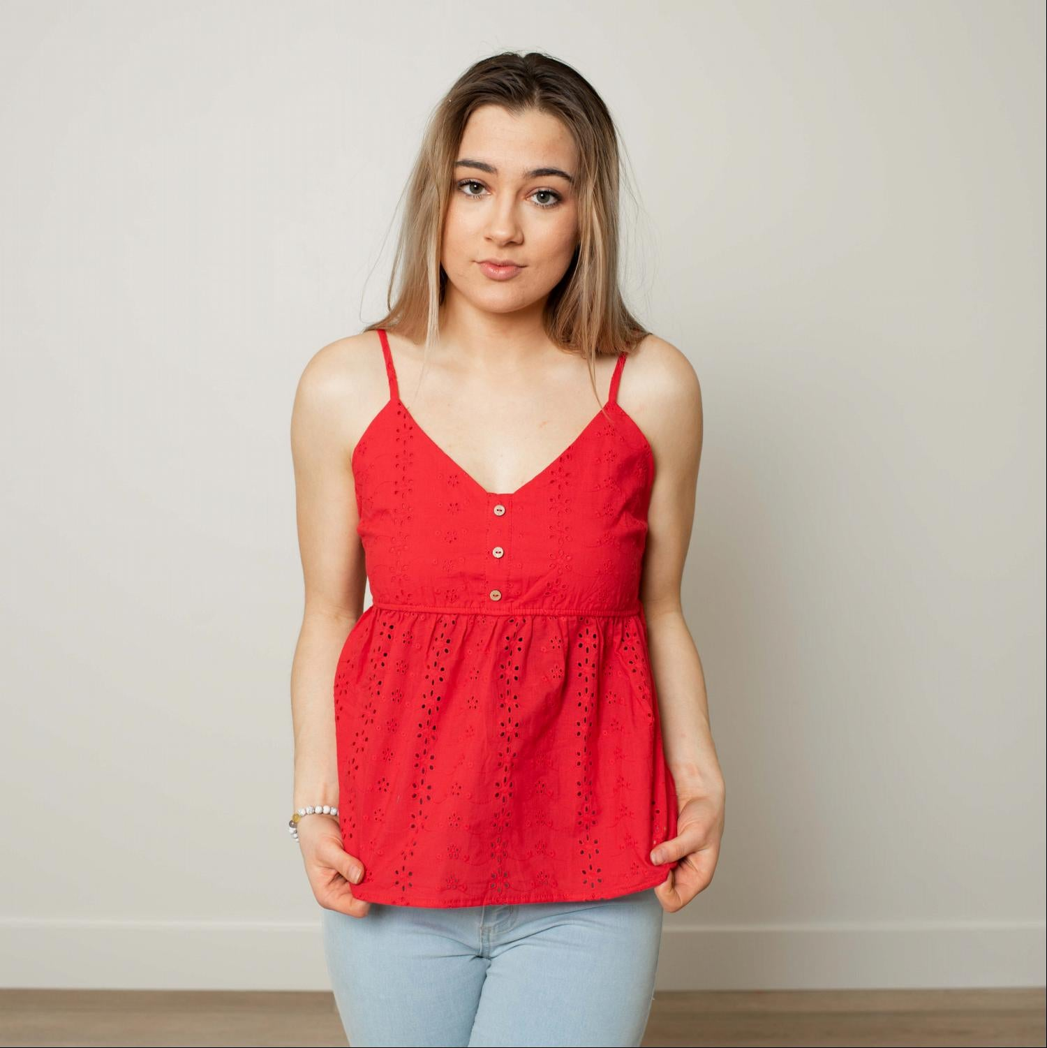 Red Women's Cotton Vest Tank Top Sleeveless Lace Loose Casual Solid Blouse S L USA