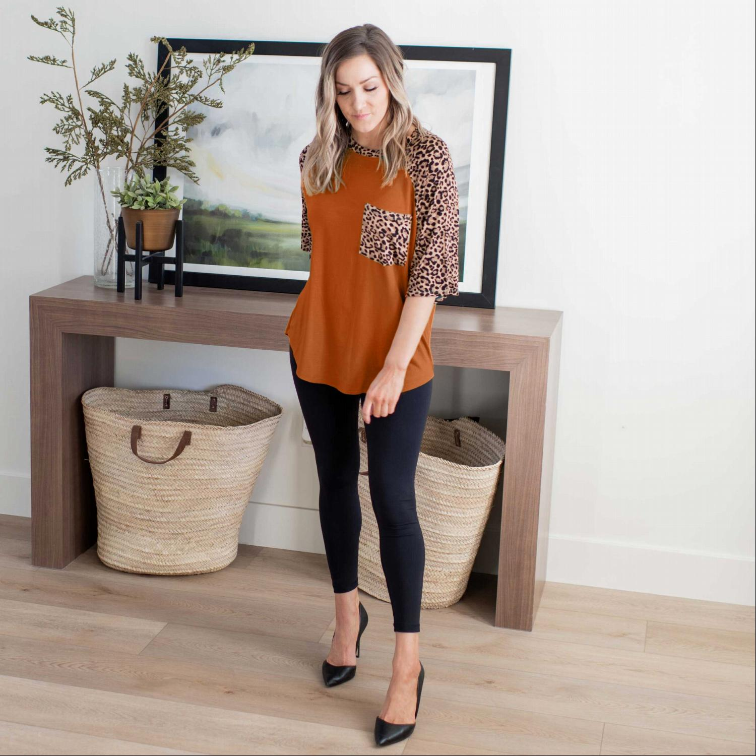 Almond Leopard Raglan Sleeve Patch Pocket Top