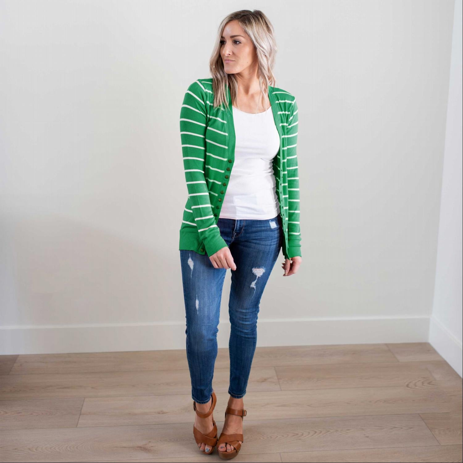 Kelly Green/Ivory Striped Sweater Cardigan
